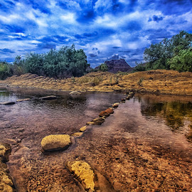 The River Runs Through by Deb Bulger - Landscapes Waterscapes ( mountains, nature, waterscape, leadinglines, bluesky, landscape, river )