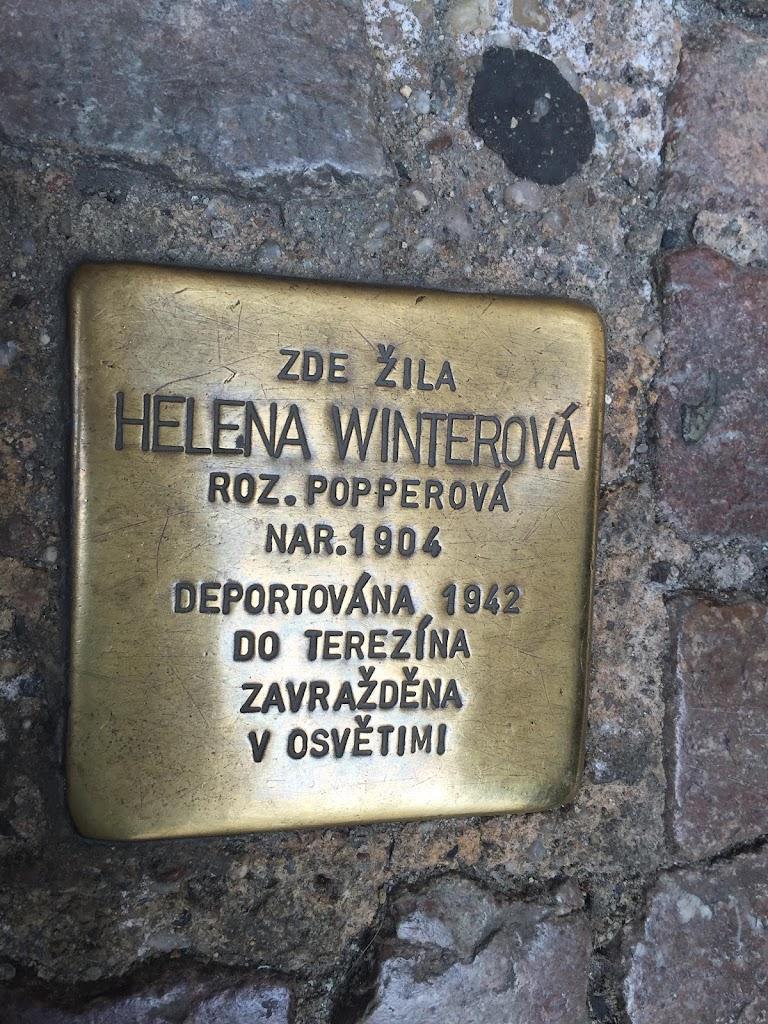 ZDE ŽILA HELENA WINTEROVAROZ. POPPEROVA NAR.1904 DEPORTOVÁNA, 1942 DO TEREZINA ZAVRAŽDENA V OSVETIMI  Submitted by Karen Seidman