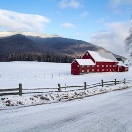 NH. barn and farmhouse 12-17-17 by Chris Arbeene - Landscapes Mountains & Hills