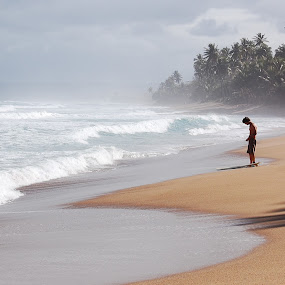 Morning surf by Aleksey Maksimov - Landscapes Waterscapes ( rincon, puerto rico, surfing, surfer, ocean, beach, surf, morning, mist )