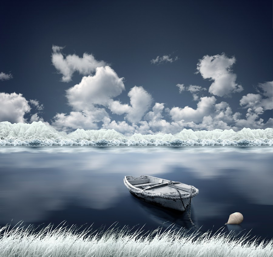 Living the dream by Caras Ionut - Digital Art Things ( ir, mountain, grass, s blue, cloud, boat )