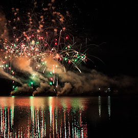 Fireworks Over the Lake by Daniel Wheeler - Public Holidays New Year's Eve ( reflection, australia, summer, nye, fireworks, lake, new years )