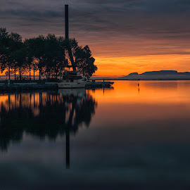 Marina by Don Malcolm - Landscapes Sunsets & Sunrises ( clouds, waterscape, colors, trees, morning )