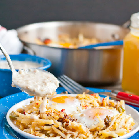 Sausage Gravy and Eggs Hash Brown Skillet