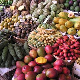 Fruit Market by Vicki Clemerson - Food & Drink Fruits & Vegetables ( fruit, funchal fruit market, piles of fruit, fruit market, arrangement of fruit )