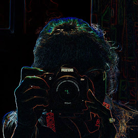 Yours truly. Self portrait. by Ingrid Anderson-Riley - Digital Art People ( photographers, taking a photo, photographing, photographers taking a photo, snapping a shot )