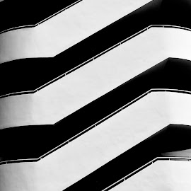 Zipper by Justin Lee - Buildings & Architecture Architectural Detail ( building, monochrome, architecture, stripes, singapore, city, geometry, modern, urban, symmetrical, stairs, pattern, justin adam lee, bay, contemporary, staircase, diagonal, symmetry, marina, geometrical )