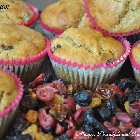 Mango, Pineapple and Cranberry Muffins
