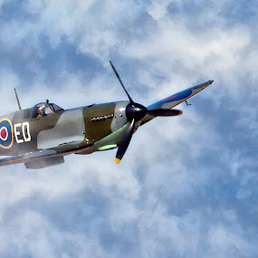 breaking through by Dave . - Transportation Airplanes ( spitfire, wwii, warbird, vintage, airplane, british fighter )