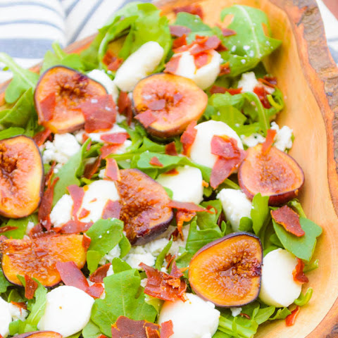 Roasted Fig, Feta & Prosciutto Crouton Arugula Salad with Lemon Herb Vinaigrette