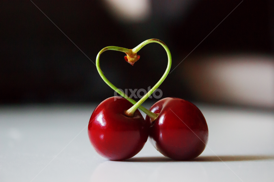 Bonded by love by Suzana Trifkovic - Food & Drink Fruits & Vegetables ( love, cherry, fruit, red, heart, food, ripe )