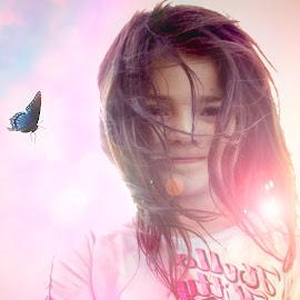 My little Sunshine by Danielle Benbeneck - Digital Art People ( child, butterfly, pink, kids, flare, portrait,  )
