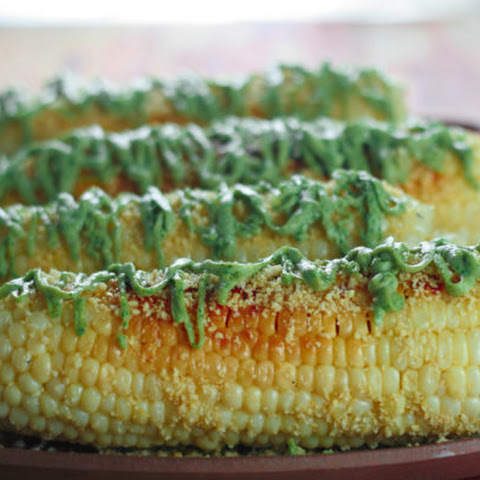Mesquite-Grilled Corn on the Cob with Almond Parmesan & Cilantro-Lime-Avocado Cashew Sauce
