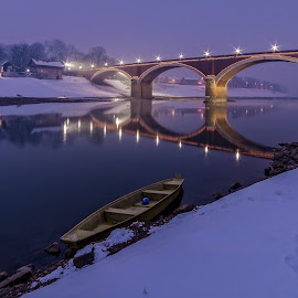 by Bojan Bilas - Buildings & Architecture Bridges & Suspended Structures ( urban exploration, reflection, building, europe, blue hour, beautiful, croatia, fine art, travel, transportation, architecture, boat, daybreak, landscape, hrvatska, lights, urban, winter, night, long exposure, bridge, light, river )