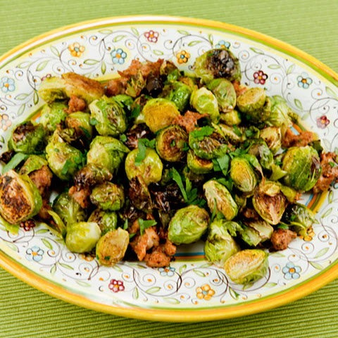 Golden Roasted Brussel Sprouts With Sausage & Garlic