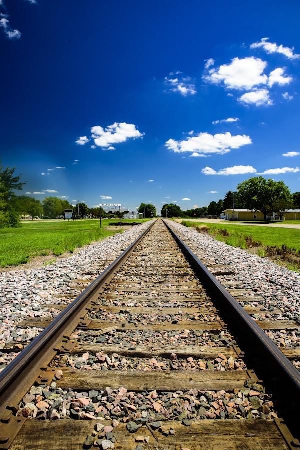 Walnut Grove Tracks by Bill Frische - Transportation Railway Tracks ( railroad, track, walnut, little, house, prairie, grove )