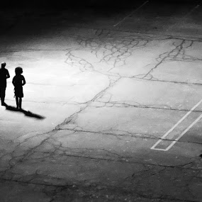 The Walk by VAM Photography - Black & White Street & Candid ( parking lot, b&w, couple, candid, night shot, street photography )