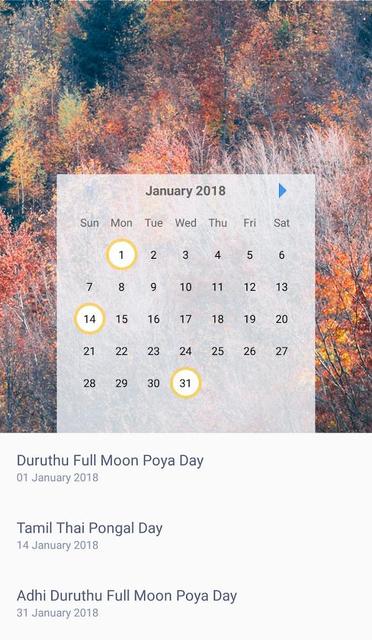 2018 Calendar Sri Lanka Litha | 2018 January Calendar