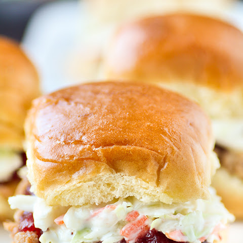 Slow Cooker Pulled Pork Cranberry Slaw Sliders