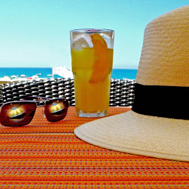 Holiday Rest by Simon Matthews - Food & Drink Alcohol & Drinks ( holiday, panama, shades, vacation, juice, glass, dring, bar, sunglasses, hat,  )