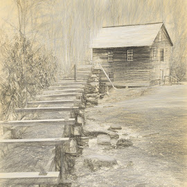 Mingus Mill  by John Kehoe - Digital Art Places ( mill, mountains, park, active, smoky, smoky mountains, historic, mingus )