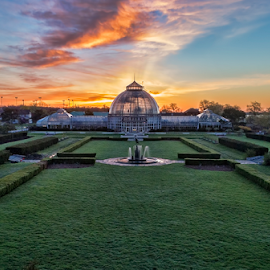 Earth Day Sunrise by Pat Eisenberger - Buildings & Architecture Public & Historical ( belle isle conservatory, michigan, conservatory, belle isle, sunrise, earth day, detroit,  )