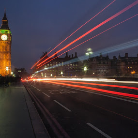 Westminster Bridge Bus Trails by Andro Andrejevic - City,  Street & Park  Night ( london, night photography, light trails, big ben, nightscape )