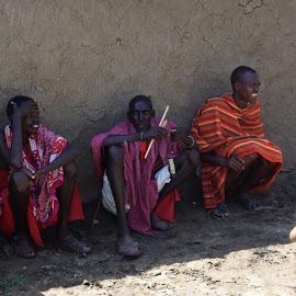 Tribal men by Cyndi Rosenthal - People Street & Candids ( red, tribe, tribal men africa, culture, massai )