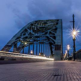 Night Tyne by Adam Lang - Buildings & Architecture Bridges & Suspended Structures ( tyne, gateshead, newcastle, night, bridge, road )