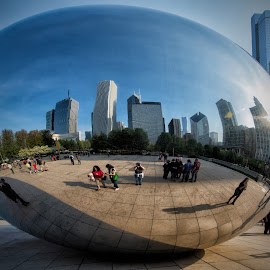 My Selfie at the Bean in Chicago by Chris Bartell - Buildings & Architecture Other Exteriors ( photographers, may, bean, park, photographing, 2015, chicago, photographers taking a photo, taking a photo, snapping a shot,  )