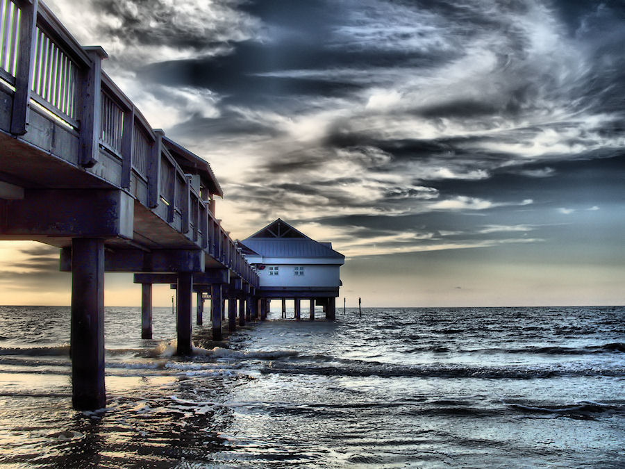 by Terry Davey - Landscapes Waterscapes ( blue., pier, sea )