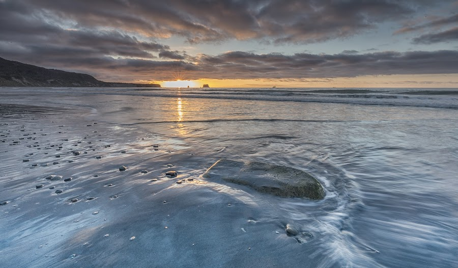 Rapahoe bay 2 by Ian Pinn - Landscapes Beaches ( sunset, tide, wave, rock, new zealand )