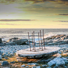 Round table by Annette Nordlinder - Buildings & Architecture Decaying & Abandoned ( tabe, pins, barents, midnight, rocky, sea, round, beach, steel, sun, six )