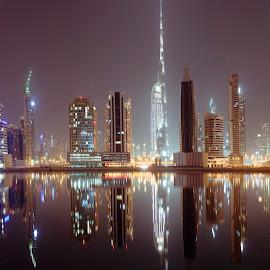 Dubai at night  by Ricky Pao - City,  Street & Park  Skylines ( bubai night, dubai skyline, burj khalifa, dubai photographer, city )