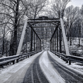 Snowy Bridge by RomanDA Photography - Buildings & Architecture Bridges & Suspended Structures ( frame, cold, metal, brdge, snow )