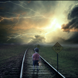 End of The Road by Sergiu Pescarus - Digital Art Places ( child, lightning, railway, railroad, dark clouds, storm clouds, storm, light )