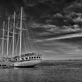 resting by Francisco Cardoso - Transportation Boats ( water, clouds, black and white, harbour, sailboat, boat, decay )