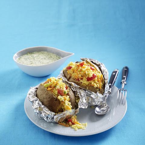 Kumpir (Turkish Baked Potato) and Couscous Salad with Spinach Sauce