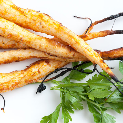 Baked Parsley Roots Glazed With Sriracha Sauce