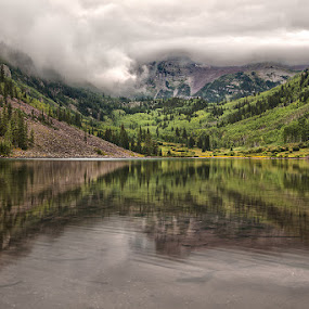 Maroon Bells  by Tom Cuccio - Landscapes Mountains & Hills ( clouds, reflection, mountains, hdr, colorado, lake, maroon bells, landscapes, storm, aspen )
