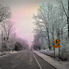 icy morning by Lainie Saurbeck - Landscapes Weather ( sign, street, snow, frost, road )