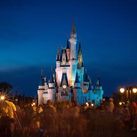 Disney Ghosts by Andrew Block - City,  Street & Park  Amusement Parks ( night photography, disney world, night, long exposure, disney, cinderella )