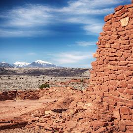 Barren Plains by Richard Michael Lingo - Buildings & Architecture Decaying & Abandoned ( desert, wupatki national monument, arizona, landscape, prairie )