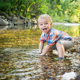 Stream of Joy by Bill Pevlor - Babies & Children Children Candids ( water, playing, child, stream, playful, happy, outdoors, play, candid, boy, portrait, KidsOfSummer )