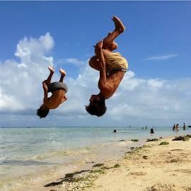San Jose Jumping Kids! by Dick Shia - Babies & Children Children Candids ( action, kids, beach, flip,  )