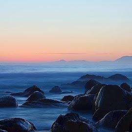 Kogel Bay sunset by Sean Scott - Landscapes Beaches ( exposure, sand, sunset, beach, rocks )