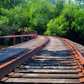Rusty Curve by Rob Kovacs - Transportation Railway Tracks