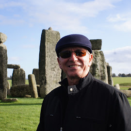 Sacred ground smile by Amber O'Hara - People Portraits of Men ( stone henge, england, smile, man, portrait,  )