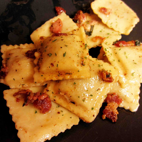 Beef Ravioli with Bacon Butter Sauce