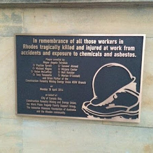 In remembrance of all those workers in Rhodes tragically killed and injured at work from accidents and exposure to chemicals and asbestos. [Location approximate] Submitted by kevintsien